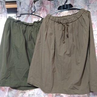 ムジルシリョウヒン(MUJI (無印良品))の良品計画 綿 100% スカート 2枚 Lサイズ(ひざ丈スカート)