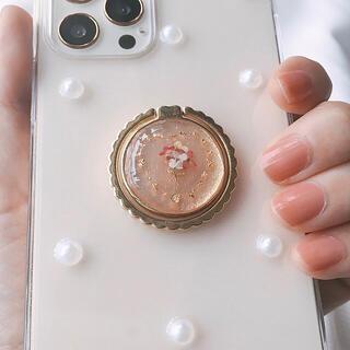 iPhoneケース ハンドメイド パール ハート 韓国  ブーケ ドライフラワー(iPhoneケース)