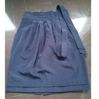 ナラカミーチェ(NARACAMICIE)の【美品】ナラカミーチェ ヨンア着ネイビー膝丈スカート(ひざ丈スカート)