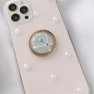 ティファニーブルー リボン リング iPhoneケース ブライダル 韓国 パール(iPhoneケース)