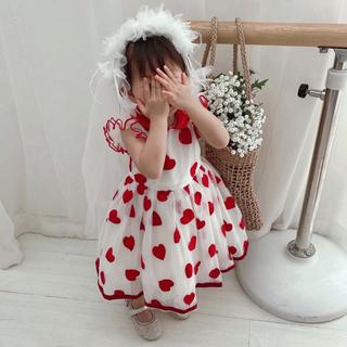 モナリザ(MONNALISA)のMONNALISA モナリザ ハート ワンピース 刺繍ドレス 24M 92cm(ワンピース)
