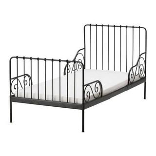 イケア(IKEA)のIKEA 伸長式 ベッド フレーム すのこ ホワイト 2点(シングルベッド)