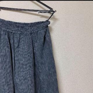 ムジルシリョウヒン(MUJI (無印良品))のフレンチリネンギャザースカートダークネイビー×ストライプ(ひざ丈スカート)