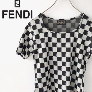 フェンディ(FENDI)のFENDIフェンディ 半袖カットソーTシャツチェッカー柄ブランドロゴトップスS(Tシャツ(半袖/袖なし))