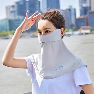 フェイスカバー 耳掛け uv 接触冷感 マスク UVカット 男女兼用 グレー(日用品/生活雑貨)