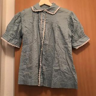 ビームスボーイ(BEAMS BOY)のレース 水色 パフスリーブ ブラウス シャツ(シャツ/ブラウス(半袖/袖なし))