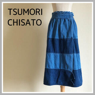 ツモリチサト(TSUMORI CHISATO)のツモリチサト デニム スカート ヘビ 個性的 M(ひざ丈スカート)