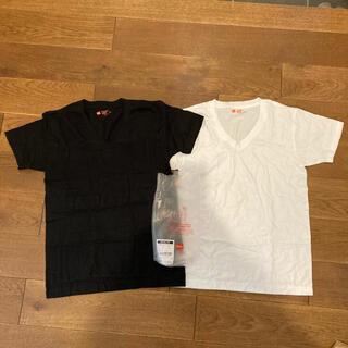 ヘインズ(Hanes)のヘインズ ビーフィT ジャパンフィット XS Vネック ホワイト ブラック 2枚(Tシャツ/カットソー(半袖/袖なし))