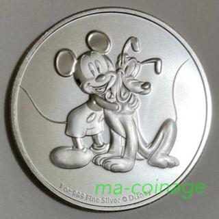 ディズニー(Disney)のミッキー&プルート 1オンス銀貨BU 2020年ニウエ発行 カプセル別売り(貨幣)