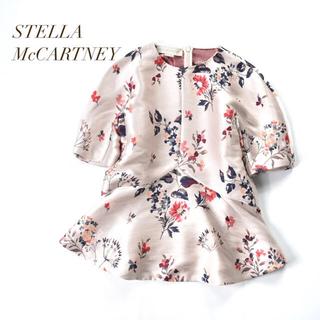 ステラマッカートニー(Stella McCartney)のSTELLA McCARTNEY 花柄刺繍 ボンディング ペプラムフレアブラウス(シャツ/ブラウス(半袖/袖なし))