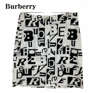 バーバリー(BURBERRY)の★超希少 バーバリーロンドン ミニスカート ロゴ 白 L(ミニスカート)