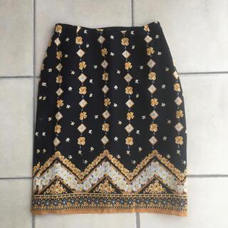 アナスイ(ANNA SUI)の新品 未着 アナスイ ANNA SUI 絹100 花柄スカート サイズ4(ひざ丈スカート)