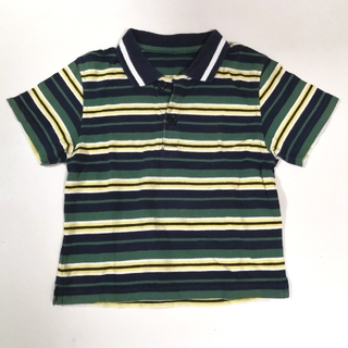 ボーダーシャツ グリーン イエロー ネイビー ホワイト 100cm(Tシャツ/カットソー)