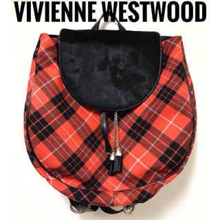 ヴィヴィアンウエストウッド(Vivienne Westwood)のヴィヴィアンウエストウッド【美品】《レア》ツイード×ハラコ チェック柄 リュック(リュック/バックパック)