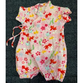 サイズ50-60 甚平風赤ちゃん用ロンパース(甚平/浴衣)
