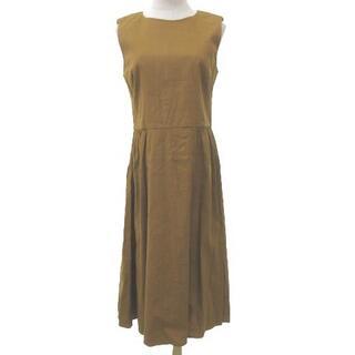 セオリーリュクス(Theory luxe)のセオリーluxe 18SS リネン ワンピース ロング ドレス 38 ブラウン(ロングワンピース/マキシワンピース)