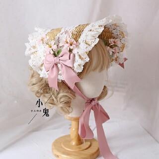 Angelic Pretty - 美沙子ちゃん着用◆麦わらリボンハット◆ボンネット スノマリ ロリィタ クラロリ