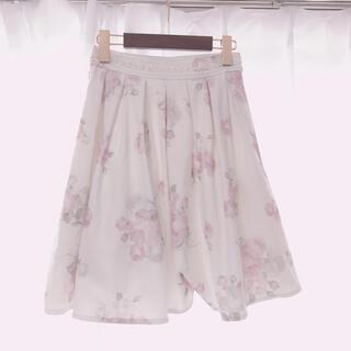 ロディスポット(LODISPOTTO)のミルフィーユクローゼット♥花柄 スカート Sサイズ 白(ミニスカート)