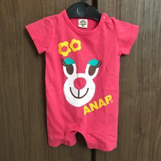 アナップキッズ(ANAP Kids)の帽子付き アナップキッズ 半袖ロンパース 60cm(ロンパース)