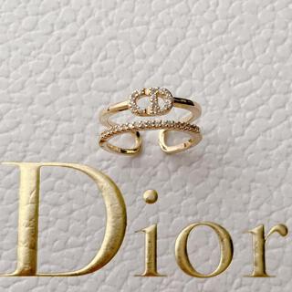 ディオール(Dior)のラインストーン ロゴリング 新品未使用✨(リング(指輪))