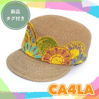 カシラ(CA4LA)の【定価¥21890/新品未開封】CA4LA キャスケット 麦わら帽子 個性的(麦わら帽子/ストローハット)