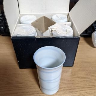 タチキチ(たち吉)のたち吉 湯のみ 冷茶 陶コップ 5客セット 陶器 レトロ 未使用新品 OS-47(グラス/カップ)