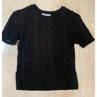 ザラ(ZARA)のTシャツタイプ レース黒(Tシャツ(半袖/袖なし))