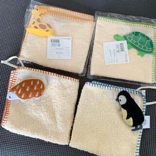 ウチノ acoototo 動物 ループ付きタオル 4枚セット 幼稚園 保育園(タオル/バス用品)