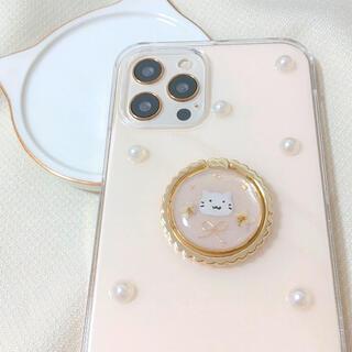iPhone12 など 猫 ハンドメイド スマホケース ねこ リボン(iPhoneケース)