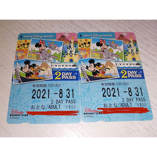 ディズニー(Disney)の【未使用】ディズニー リゾートライン フリー切符 2day 2枚(その他)