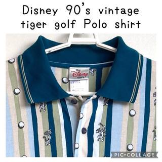 ディズニー(Disney)の90s vintage Disney ティガー ゴルフ 総柄 柄ポロシャツ(ポロシャツ)