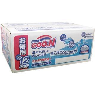 10箱 グーン 肌にやさしいおしりふき 詰替用 70枚×12個パック(おむつ/肌着用洗剤)