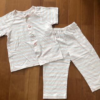 ムジルシリョウヒン(MUJI (無印良品))のセール 無印良品 キッズパジャマ ピンクボーダー 110-125(パジャマ)