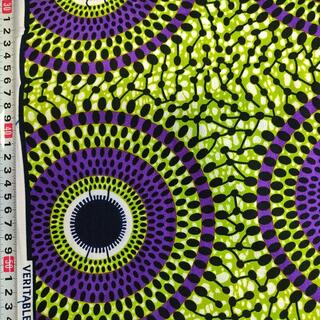 124 パープル サークル アフリカ布 50cm x 110cm バオバブ神戸(生地/糸)