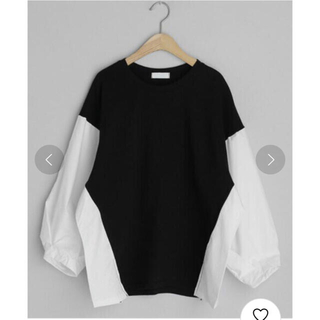 ディーホリック(dholic)の配色パフスリーブTシャツ ブラック(Tシャツ(長袖/七分))