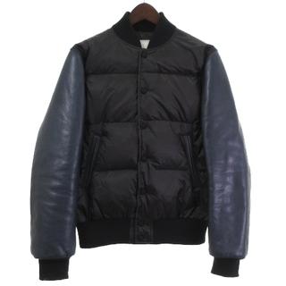 サカイ(sacai)のサカイ sacai 14AW ダウン ブルゾン 切替 袖レザー 黒 紺 1(ダウンジャケット)