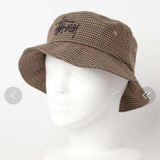ステューシー(STUSSY)のSTUSSY Big Logo Check Bucket Hat キャメルS/M(ハット)