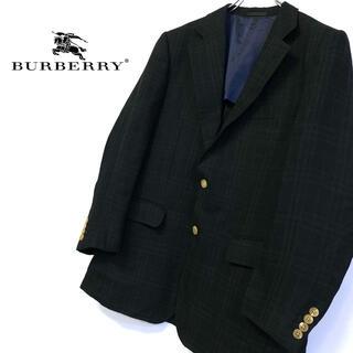 バーバリー(BURBERRY)の美品 リネン混 BURBERRY 黒×黒 ノヴァチェック テーラードジャケット(テーラードジャケット)
