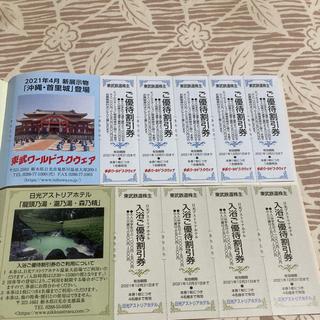 東武ワールドスクエア割引券5枚+日光アストリアホテル入浴割引券4枚 セット(遊園地/テーマパーク)