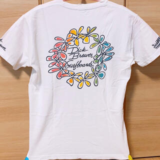 ディックブリューワー(Dick Brewer)のアロハTシャツ おしゃれ 白 夏ビーチ感 英語 おしゃれ Lサイズメンズ未使用 (Tシャツ/カットソー(半袖/袖なし))