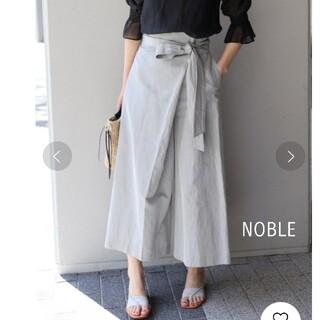 ノーブル(Noble)のノーブル ハイウエストラップパンツ ストライプ グレー M(カジュアルパンツ)