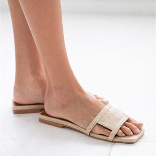 アリシアスタン(ALEXIA STAM)のAlexiastam Flat Square Toe Sandals パイソン(サンダル)