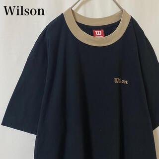 ウィルソン(wilson)の★ 90s Wilson 刺繍ロゴ Tシャツ ブラック リブ ウィルソン(Tシャツ/カットソー(半袖/袖なし))