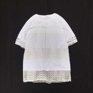 クロエ(Chloe)のChloe クロエ はしごレース Tシャツ カットソー ホワイト*ドゥロワー(Tシャツ(半袖/袖なし))