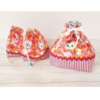 お弁当袋&コップ袋のセット:レトロ猫柄(その他)