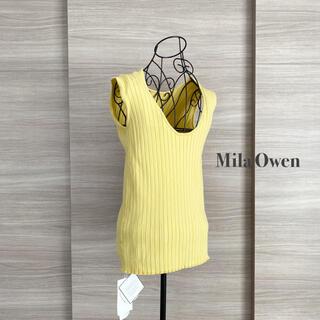 ミラオーウェン(Mila Owen)の新品タグ付き/Mila Owen ミラオーウェン オーガニックリブノースリニット(タンクトップ)