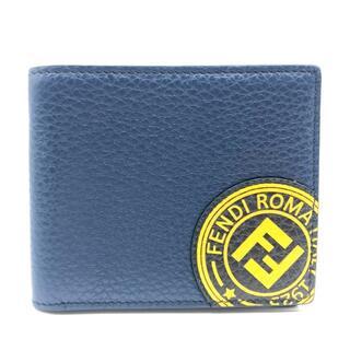 FENDI - 美品 フェンディ 7M0169 スタンプ FFロゴ 二つ折り財布 ブルーマリン