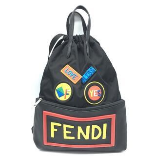 フェンディ(FENDI)のフェンディ 7VZ034 10Q ロゴ フェイスリュック ナイロン/レザー(バッグパック/リュック)