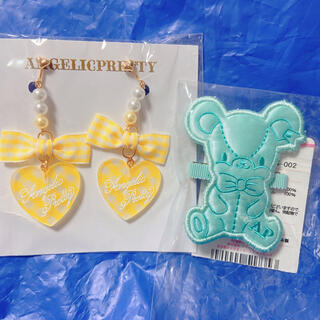 Angelic Pretty - Jelly candy toysクリップ& Lovelyギンガムイヤリング