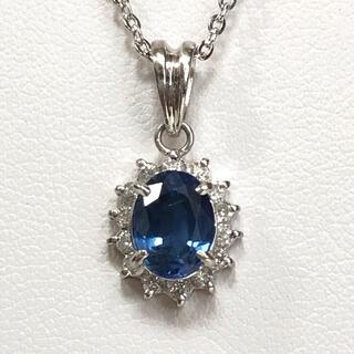 【数日限定】1.7ct非加熱サファイア、0.3ctダイヤ付、プラチナ ペンダント(ネックレス)